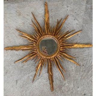 Unusual Early 20th Century Spanish Giltwood Small Starburst Sunburst Mirror Preview