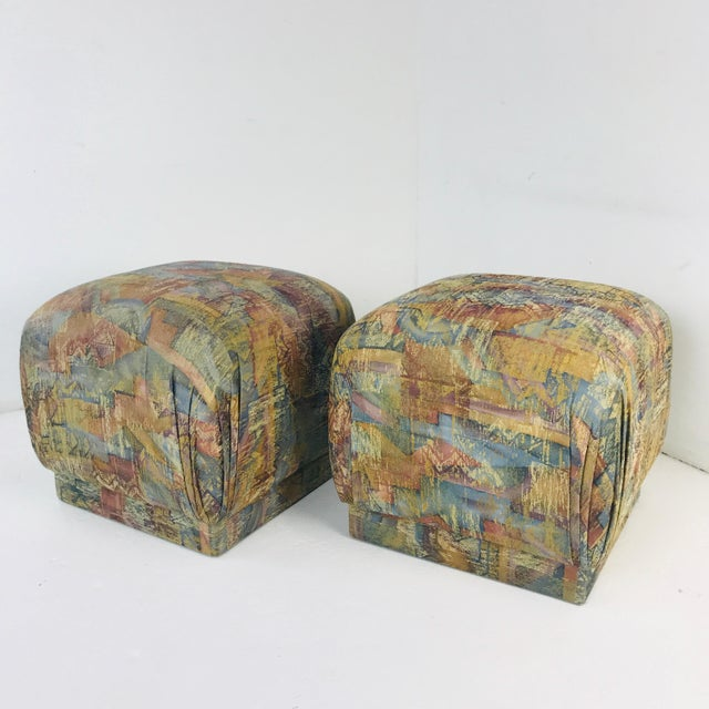 Pair of Pouf Ottomans With Plinth Base For Sale - Image 9 of 12