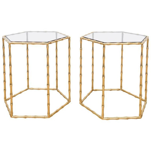 Maison Baguès Style Brass Tables - A Pair For Sale - Image 5 of 5