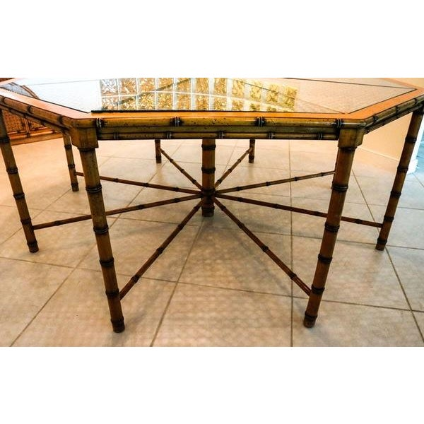 McGuire Style Octagonal Rattan Dining Set - Image 4 of 10
