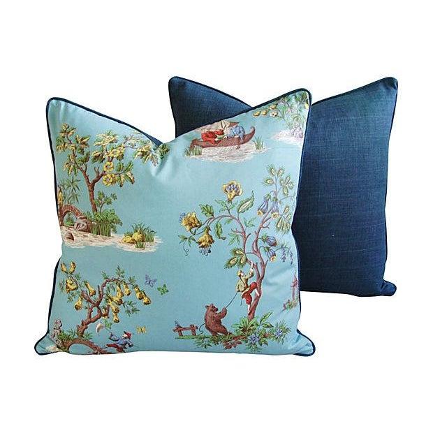 Powder Blue Scalamandré Pillows - A Pair - Image 5 of 7