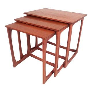Set of Three Vintage Modern Teak Nesting Tables For Sale