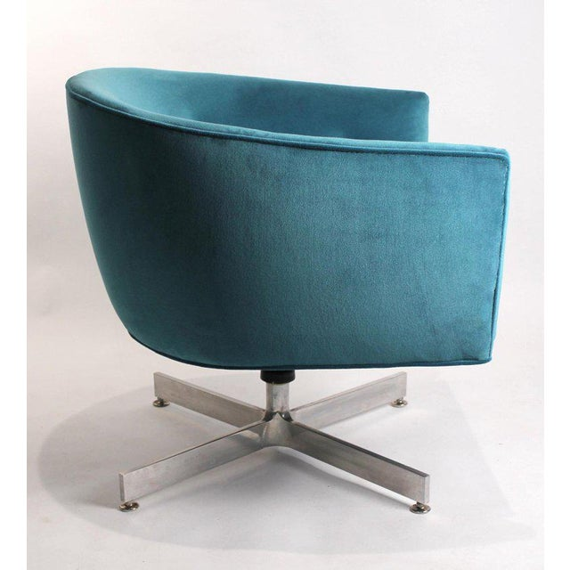Blue Milo Baughman Tilt and Swivel Lounge Chairs for Thayer Coggin For Sale - Image 8 of 11
