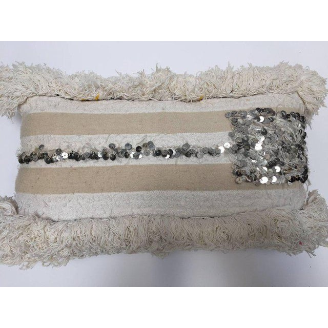 Moroccan Wedding Pillow With Silver Sequins and Long Fringes For Sale - Image 4 of 10