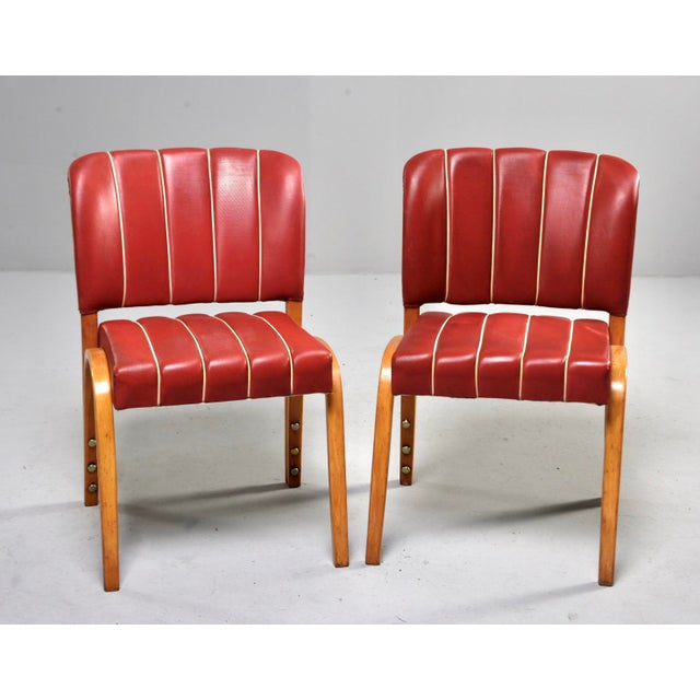 Mid-Century Modern Italian Mid Century Bentwood Dining Chairs With Original Red Vinyl Upholstery - Set of 6 For Sale - Image 3 of 13