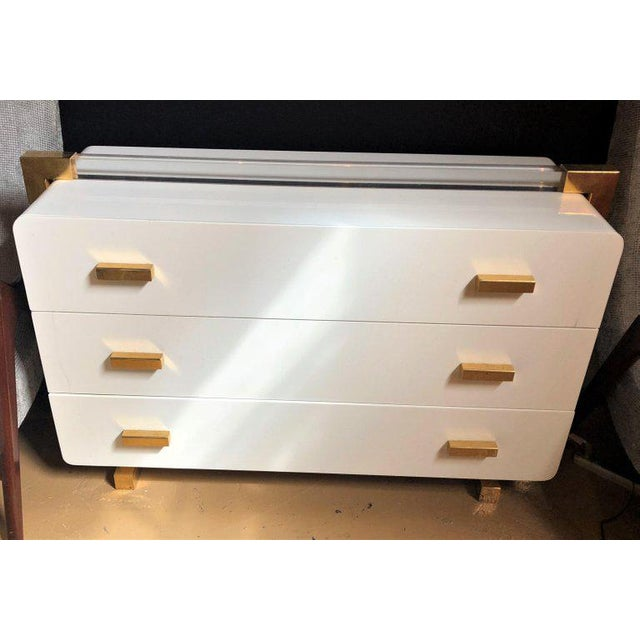 One of a Kind Metal Lacquered and Lucite Important Italian Commode or Dresser For Sale - Image 4 of 13