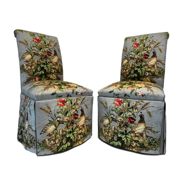 "Scalamandré Fabric ""Edwin's Covey"" Parsons Chairs- A Pair For Sale - Image 11 of 11"