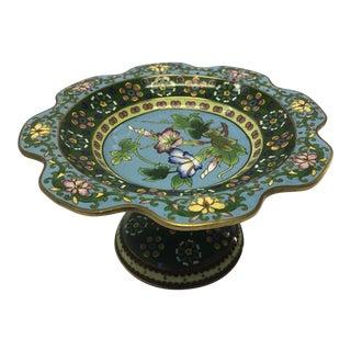 1950s Vintage Cloisonné Compote Pedestal Bowl For Sale