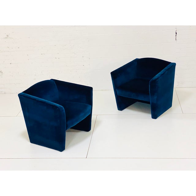 Postmodern Post Modern Angular Barrel Back Lounge Chairs - a Pair For Sale - Image 3 of 8