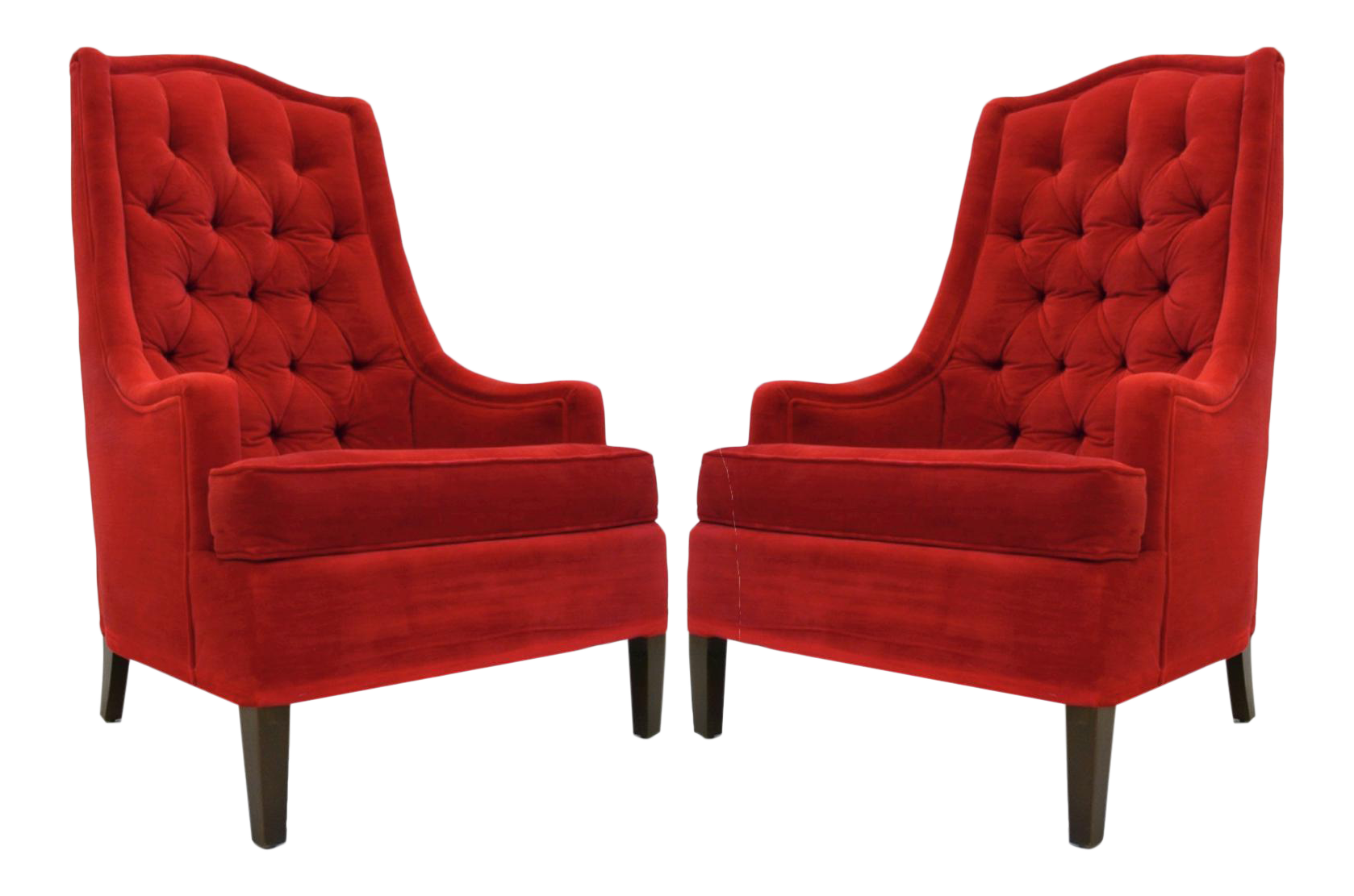 1940s Tufted Red Velvet Classic Hollywood Regency Chairs   A Pair