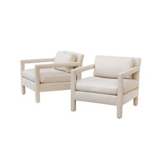 Pair of Parsons Armchairs in Linen For Sale