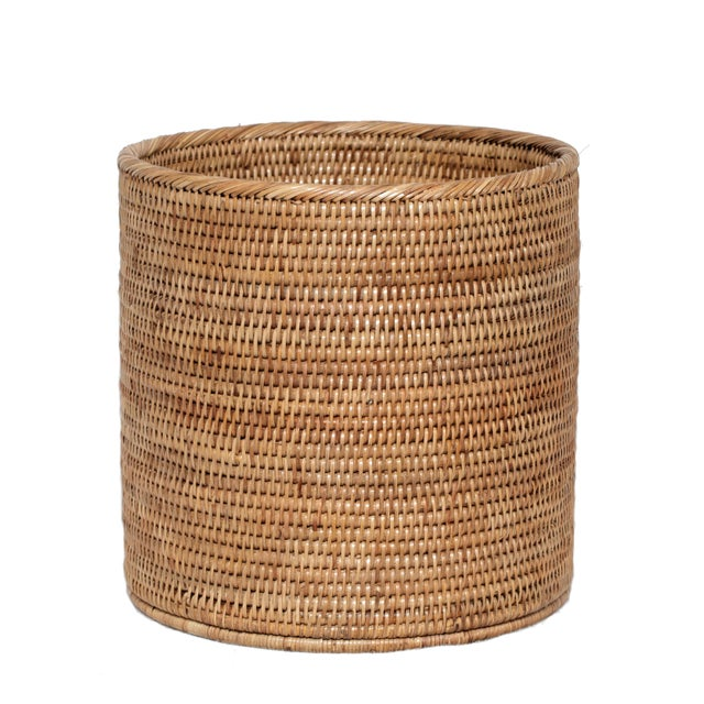 Boho Chic Artifacts Rattan Round Waste Basket For Sale - Image 3 of 3