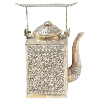 Antique Asian Silver Engraved Teapot For Sale