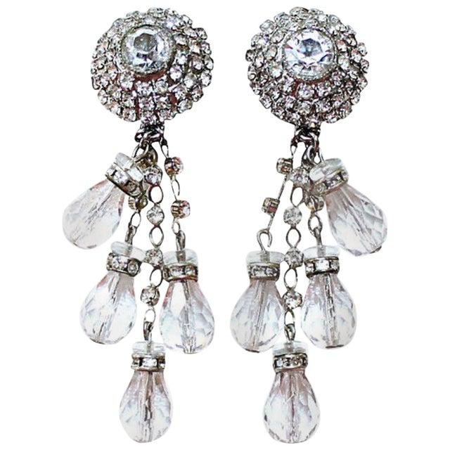 1960s William deLillo Crystal Chandelier Earrings For Sale