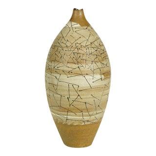 Hand Thrown & Glazed Terra Cotta Free Edge Vase For Sale