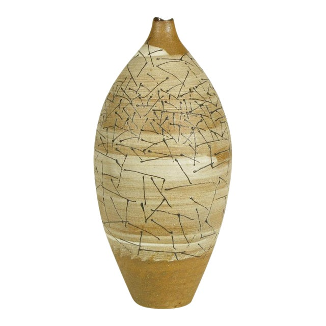 Hand Thrown & Glazed Terra Cotta Free Edge Vase For Sale