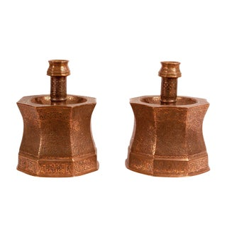 Large 1830s Turkish Engraved Copper Candlesticks - a Pair