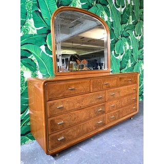 Art Deco Burl Wood Dresser and Mirror by American of Martinsville Preview