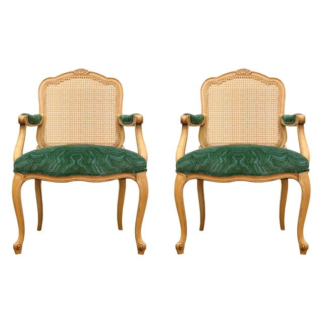 Malachite Velvet Century Brand Caned French Chairs - a Pair For Sale - Image 11 of 11