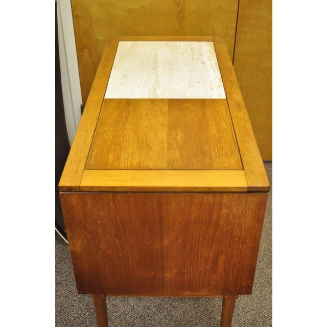 Mid 20th Century Mid-Century Modern American of Martinsville Walnut Drop Leaf Server Bar Buffet For Sale - Image 5 of 11