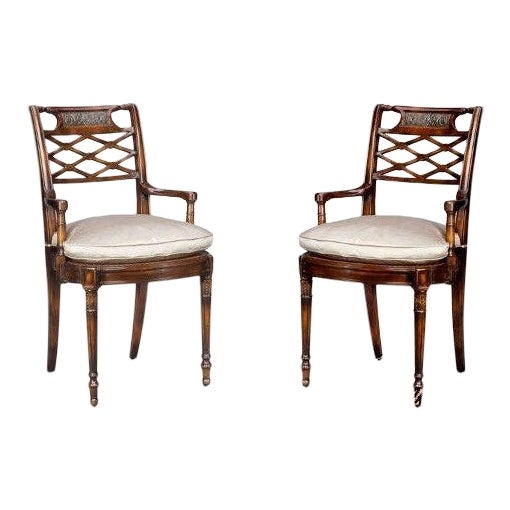 Theodore Alexander Pair Regency Mahogany Arm Chairs #4100-236 For Sale