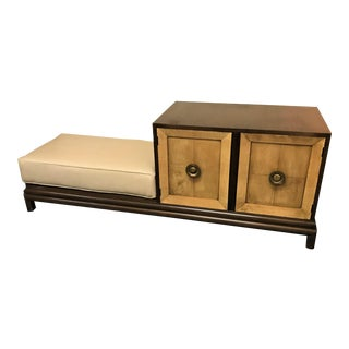 Vintage Mid Century Modern Half Cabinet With Side Platform and Cushion in the Style of Renzo Rutili For Sale