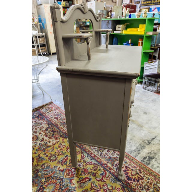 Crystal Vintage Gray Sideboard Cabinet With Mirror For Sale - Image 7 of 9