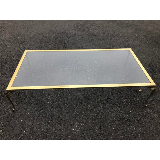 Hollywood Regency Brass & Glass Cocktail Table For Sale - Image 10 of 10