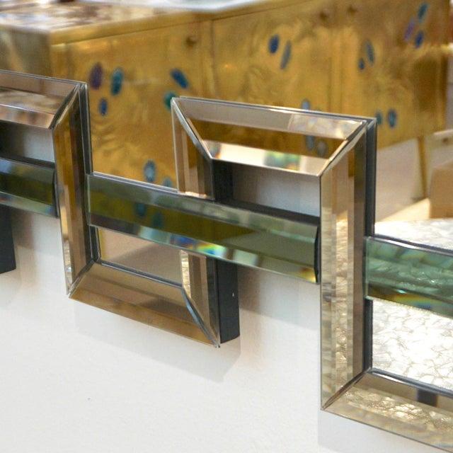 Green Contemporary Italian Geometric Murano Glass Mirror With Aqua Green Ribbon For Sale - Image 8 of 13