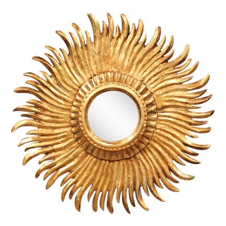 Mid-20th Century French Carved Sunburst Mirror with Gilt Finish For Sale