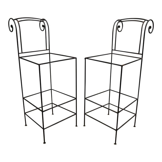 Wrought Iron Curule Frame Scroll Back Seat Bar Counter Stools - a Pair For Sale