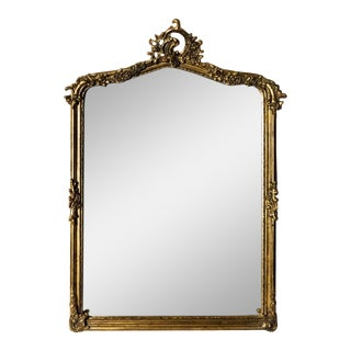 French Henri Hand-Carved Beveled Mirror in Hand Gilt Frame For Sale