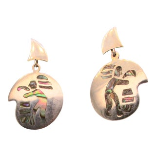 Mexican Sterling and Abalone Screw Back Dangles For Sale