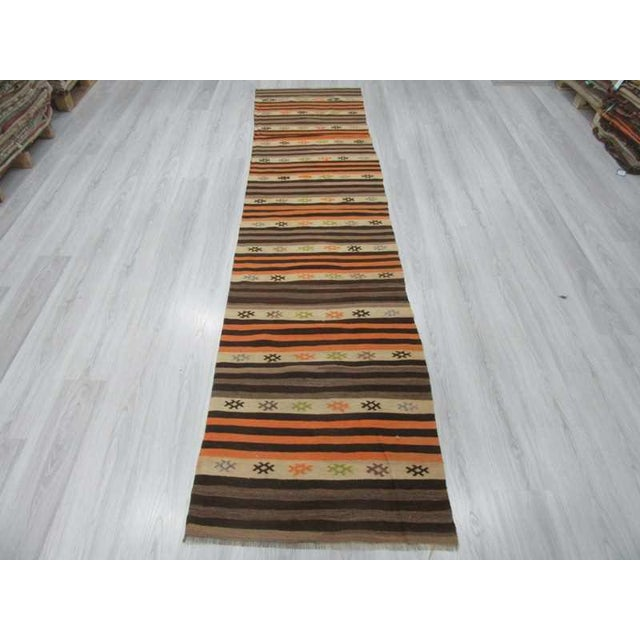 Vintage striped kilim runner rug from Denizli region of Turkey. Approximatelly 50-60 years old.In very good condition