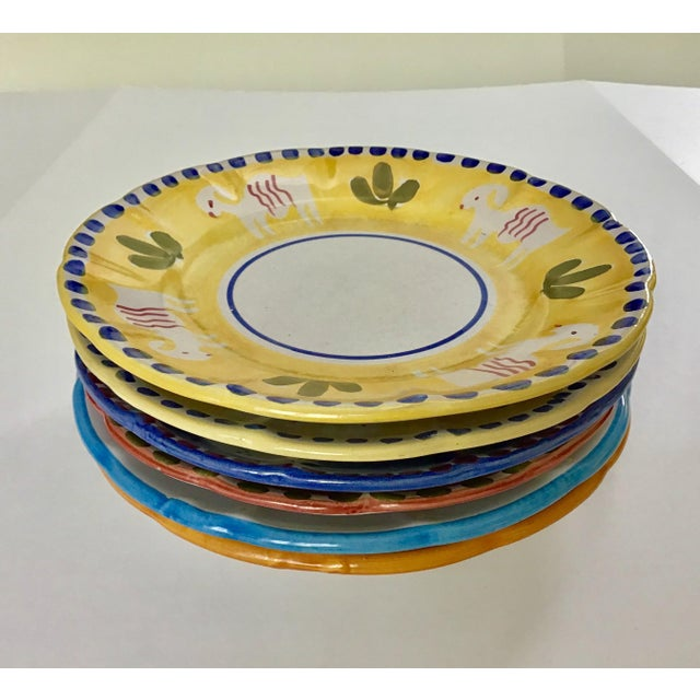 "Serve up some style with this set of 6 Vietri handpainted 10"" dinner plates. Four of the plates are from the Campagna..."