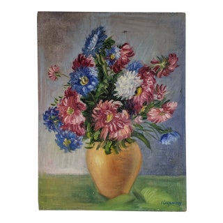 Vintage Oil Painting of Flowers in Vase, Signed by Artist For Sale