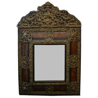 18th C Dutch Mirror Walnut and Brass For Sale