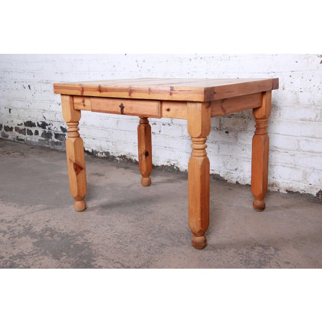 Vintage Rustic Solid Pine Writing Desk For Sale - Image 11 of 11