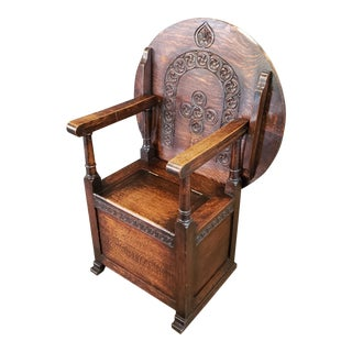 19th Century Carved Oak Monk's Seat For Sale