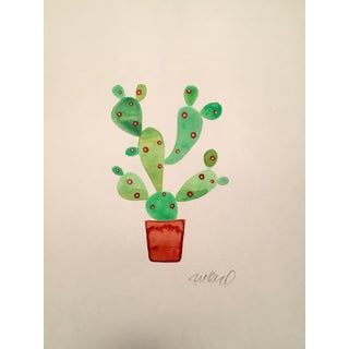 Contemporary Day Glow Cactus Watercolor Painting For Sale