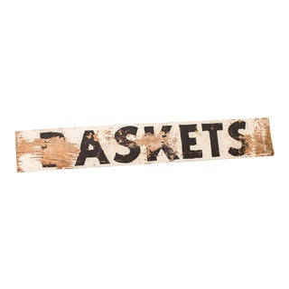 Weathered Wooden Baskets Sign For Sale