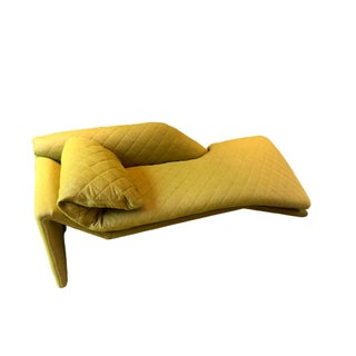 Vintage Chaise in Adelene Simple Cloth Plush Crush Egg Yolk Fabric For Sale