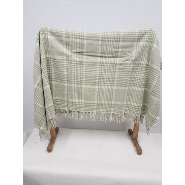 English Merino Wool Throw Green Squares - Made in England For Sale - Image 3 of 9