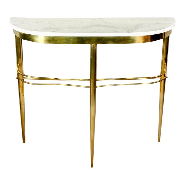Mid Century Italian Brass Demilune Console With White Marble Top For Sale