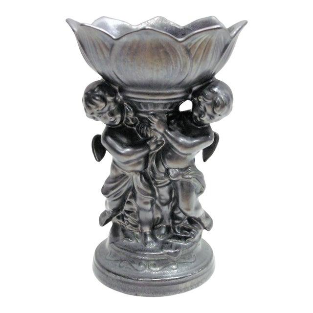 Vintage Cherub Epergne in Dark Metallic Pewter Glaze For Sale