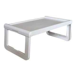 1970s Vintage Luigi Massoni for Guzzini Minimalist Plastic White Bed Tray For Sale