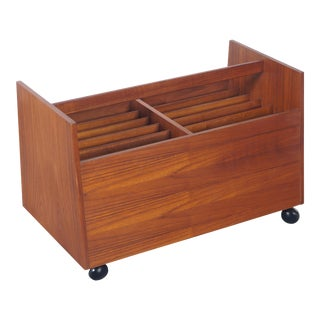 Danish Teak Rolling Magazine Stand by Rolf Hesland For Sale