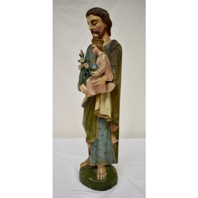 Hand-Carved Wooden Sculpture of Saint Joseph and the Christ Child For Sale - Image 10 of 13