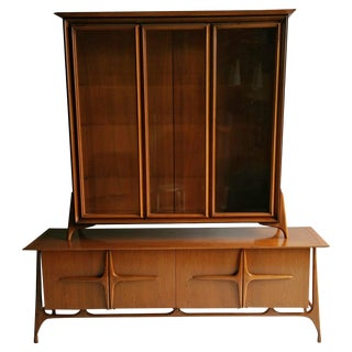 Modernist Sculptural Sideboard With Top Cabinet in the Manner of Vladimir Kagan For Sale