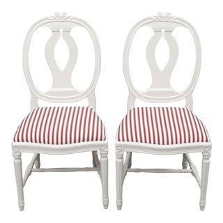 1980s Carved Rose Gustavian Chairs - Pair For Sale